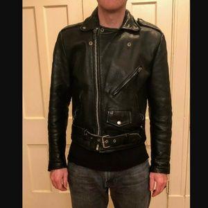 Vintage Wilsons Leather Motorcycle Jacket Black